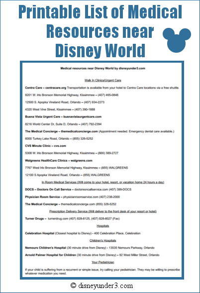 Disney Medical Resource List